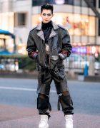 Leather Harajuku Street Style w/ Spiked Motorcycle Jacket, Gallerie Tokyo Sequin Top, MYOB Cutout Pants & Snakeskin Bag