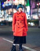 Orange Trench Coat & Blue Hair Harajuku Street Style w/ Coach, Eytys x H&M & Vintage Fashion