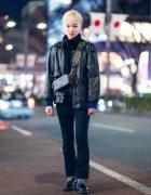 Chic All Black Tokyo Street Style w/ Blonde Pixie Cut, Faux Leather Jacket, Zara Denim Pants, Dr. Martens & Marc Jacobs Bag