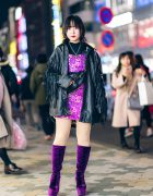 Harajuku Street Style w/ Fringe Leather Jacket, Dragon Print Dress & Gallerie Tokyo Purple Velvet Boots