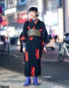 Vintage Geometric Print Japanese Kimono, Leaf Print Shirt, Checkered Obi & Vinyl Boots in Harajuku