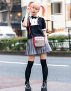 Japanese Pop Icon in Harajuku w/ Pink Twin Tails, Sinz Guitar Amp Bag, Vivienne Westwood & Platform Booties
