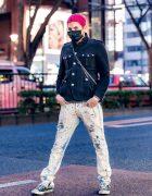 Gab3 in Harajuku w/ Pink Hair, Face Mask, Military Jacket, Vlone, Beams, Converse & Vivienne Westwood Bag