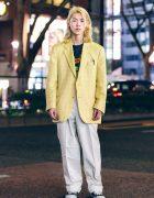 Japanese Hair Stylist in Harajuku Menswear Street Style w/ Blond Hair, Converse Sneakers & Zohreh Yellow Blazer