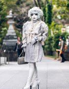 Japanese Shironuri Artist Minori in Vintage, Handmade & Remake Fashion in Tokyo