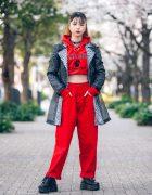 Shinjuku Streetwear Style w/ Leopard Print Coat, Parkview Elementary Cropped Hoodie, (ME) Harajuku O-Ring Choker, MCM Backpack & Yosuke Platforms