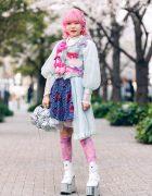 Pink & Blue Street Style in Tokyo w/ Pink Hair, Kiki2 Layered Tops, Floral Skirt, Vintage Accessories, Sequin Flower Handbag  & Metallic Platforms
