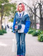 Remake Denim w/ Pink Hair, Cropped Denim Sweater, Gallerie Tokyo Rhinestone Necklace, Denim Sling Bag & Lowrys Farm Patent Boots