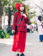All Red Style with Three Star Fascinator Headband, Milk Plaid Blazer, Tulle Skirt, Dr. Martens Lace-Up Shoes & Jouetie Drawstring Bag