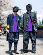Handmade Japanese Streetwear Styles w/ Face Masks, Kanji Embroidery, Mandarin Collar Denim Jackets, Oh Pearl & Chrome Hearts