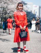 Red Shinjuku Street Fashion w/ Bow Headband, Aymmy in the Batty Girls Dress, Futatsukukuri, Vivienne Westwood & Merry Jenny Ankle Wrap Shoes