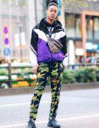 Harajuku Casual Streetwear Style w/ Man Bun, Colorblock Jacket, NYPD Hoodie, Leaf Print Pants, Adidas Sneakers & Thrasher Leopard Print Bag