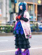 Odango Hairstyle, Vintage Kimono, Miho Matsuda Dress, Spiny Cream, Dolls Kill Platforms & Killstar Bag in Harajuku