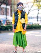Harajuku Street Style w/ Blue Hair, Dripping Eye Makeup, Jeweled Mask, Beautiful People Asymmetric Jacket, Puffer Vest, Long Skirt & Geta Sandals
