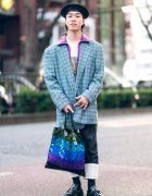 Harajuku Street Style w/ Beret, Gianni Versace Houndstooth Blazer, Adidas Jacket, Loewe, Toga Fringe Loafers & Bao Bao Issey Miyake Bag