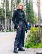 All Black Tokyo Streetwear Style w/ Zara, Never Mind the XU Snakeskin Pants, Choker w/ Body Chain & Attagirl Lace-Up Shoes