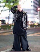 Japanese Model & Musician in All Black Harajuku Street Style w/ Tassel Earrings, Leather Jacket, Wide Leg Pants & Buckle Boots