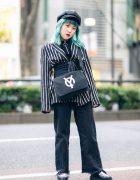 Monochrome Tokyo Street Style w/ Aqua Hair, Gallerie Newsboy Cap, H&M, Frayed Pants, OY Flap Bag & Platform Creepers