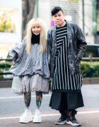 Harajuku Monochrome Streetwear Styles w/ Handmade Ruffle Top, Balloon Skirt, Muchacha Cat Purse, Demonia Platforms, Striped Tunic & Y-3 Sneakers