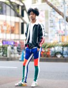 Japanese Male Model in Vintage Athleisure Streetwear Style w/ Champion and Adidas