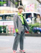 Gray Suit & Green Shirt Harajuku Vintage Street Style