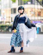 Japanese Remake Fashion in Harajuku w/ Skirt Made of Two Dress Shirts