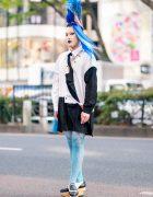 Vintage Fashion Buyer & Model in Harajuku w/ Tall Blue Hairstyle, Tattoos, Yohji Yamamoto Long Shirt, Alexander Wang, Y's & Vivienne Westwood Rocking Horse Golf Shoes