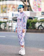 Japanese Singer-Songwriter Mi-Yu in Harajuku w/ Asymmetrical Bob, Blue Makeup, Custom Made Graphic Print Bodycon Dress by Sakuran, MYOB x Damage Earrings & YRU Platform Sneakers