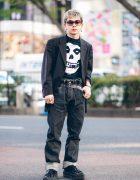 All Black Tokyo Street Style w/ Pinstripe Blazer, Misfits Skull Danzig Band Tee, Eytys Cuffed Jeans & Fenty x Puma Patent Creepers