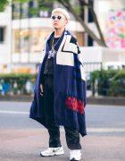 Harajuku Street Style w/ Blunt Bob, Vaquera NYC Keychain Necklaces, Sacai Wool Cape & Nike x Martine Rose