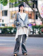 Denim Streetwear in Harajuku w/ Shaggy Hair, Purple Sunglasses, Fringed Jacket, Ralph Lauren Flared Pants & Vivienne Westwood Rocking Horse Shoes