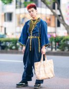 Harajuku Hair Dresser in Vintage Handmade Street Style w/ Spiky Hair, Yellow Chains, Cropped Denim Jacket, Loose Denim Pants, Dr. Martens Suede Boots & Comme des Garcons Tote Bag