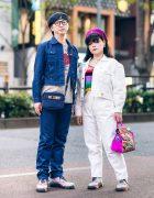 Harajuku Couple's Denim Streetwear Styles w/ Kangol Hats, Moschino, Guess, Undercover Hello Kitty Print Shirt, Sonia Rykiel Keyhole Top, Irregular Choice Bag & Dr. Martens Glitter Boots