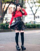 Japanese Idol in Harajuku w/ Twin Tails, Listen Flavor Beret, Cheongsam Style Top, Faux Leather Skirt & Yosuke Platforms