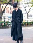 Minimalist Fashion & Long Bangs Hairstyle in Tokyo w/ Marc Le Bihan Jacket, Maxi Skirt & Ankle Boots