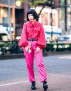 All Pink Harajuku Street Style w/ Bob Hairstyle, Vintage Blouse, Nadia Pants & Envelope Bag