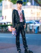Harajuku Streetwear Style w/ Zara Faux Leather Moto Jacket, Vintage Pants, Fifi x Faline Tokyo Hoodie, Fifi x Nana-Nana Clear Bag & Dr. Martens Boots