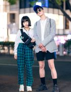 Casual Street Styles in Tokyo w/ Club Sexy, Warp Plaid Pants, Gap Pinstripe Blazer, Nike, Adidas Yeezy 500, Pretty Boy Gear, Niko And..., Converse, Louis Vuitton & Avalanche