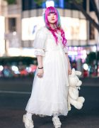 Plush Rabbit, Pink Hair & Sheer White Axes Femme Harajuku Street Style