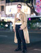 Harajuku Guy in Tan Coat & Black Boots Streetwear Style w/ Muf10, Levi's, Dr. Martens, Rat Race & Nacht