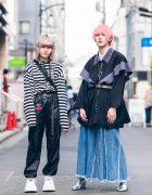 Japanese Streetwear Styles w/ Pink Hair, Codona De Moda, Oh Pearl Striped Top, Kobinai, Milkfed & White Demonia Platforms