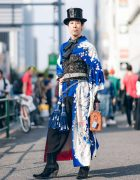 Vintage Kimono & Corset Japanese Street Style in Harajuku w/ Top Hat, Ruffle Top & New Rock Cowboy Boots