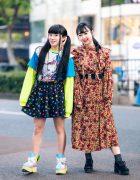 Harajuku Girls Streetwear Styles w/ Twin Tails, Peco Club, WEGO Ruffle Collar, Suspenders, Style Nanda Floral Dress & Yosuke Colorblock Boots