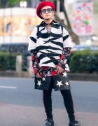 Japanese Pop Idol & Fashion Designer in Handmade Style w/ Beret, Zebra Cropped Shirt, Center Slit Star Skirt, Chrome Hearts Accessories & Chanel Quilted Backpack