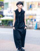 Monochrome Harajuku Style w/ Adhoc Rope Top, Sarueru Pants, Crossbody Bag & Trippen Boots