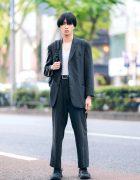 Japanese Model w/ Hugo Boss Suit, Uniqlo V-Neck Shirt, Eastpack Backpack & ASICS Sneakers
