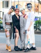 Harajuku Dancers Streetwear Styles w/ Turban Headband, Colored Hairstyles, Face Paints, Cutout Sweater, Pleated Skirt, Shirt Dress & Tabi Boots