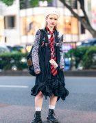 Amni Fashion Designer in Harajuku w/ Bodysong Sailor Hat, Kotohayokozawa Sweatshirt, Vintage Pleated Skirt, Suspenders & Dr. Martens