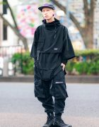 All Black Japanese Streetwear w/ Supreme Denim Cap, Mixdo Layered Shirts, Vivienne Westwood & Nike Sneakers