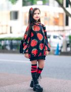 Red & Black Street Style in Harajuku w/ Twin Tails, ACDC Strawberry Print Hoodie, Village Vanguard Backpack, AnkoROCK & Yosuke Boots